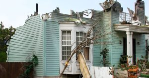 House damaged from fire insurance claim