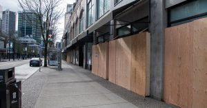 Boarded up windows. Business Interruption Insurance Claim